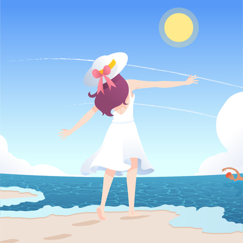 Vector illustration of girl who wants to embrace the sea