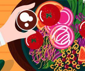Vector illustration of healthy breakfast salad