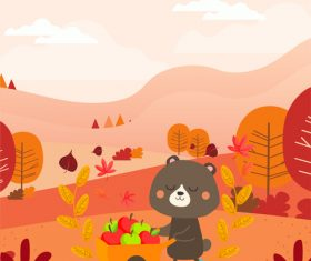 Vector illustration of little black bear of Fully Laden With Riches in the woods