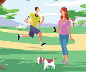 Vector illustration of people enjoying the cool sport in the park