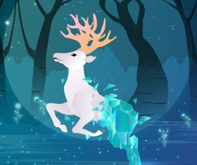 Vector illustration of psychedelic forest with deer