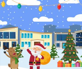 Vector illustration of santa claus and elk giving gifts