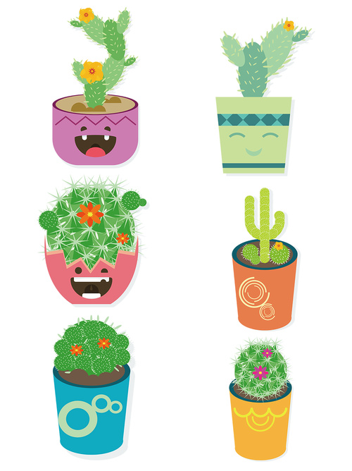 Vector material potted cactus flower
