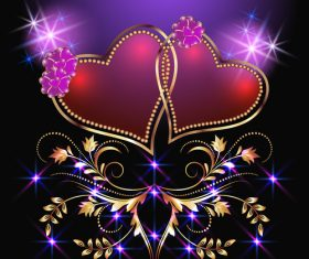 Velentines card with purple backgrounds vector 02