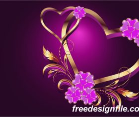 Velentines card with purple backgrounds vector 03