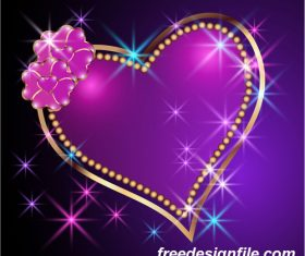 Velentines card with purple backgrounds vector 04