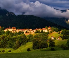 Village and nature scenery Stock Photo