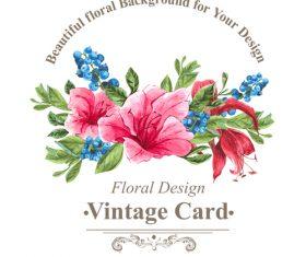 Vintage floral card template vectors design 07