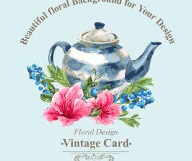 Vintage floral card template vectors design 09