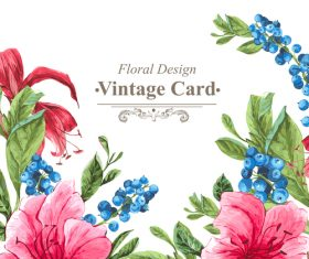 Vintage floral card template vectors design 10