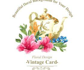 Vintage floral card template vectors design 11
