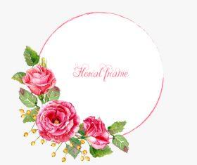 Vintage pink rose frame vector material 02