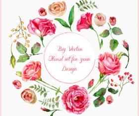 Vintage pink rose frame vector material 03