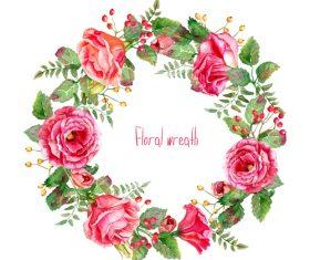 Vintage pink rose frame vector material 04