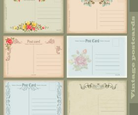 Vintage post card template vector set