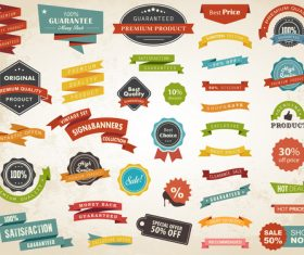 Vintage ribbon with banner with labels vector material 01