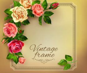 Vintage rose with card templates design vector 03