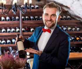 Waiter introduces wine Stock Photo