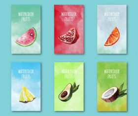 Watercolor summer fruit card vector