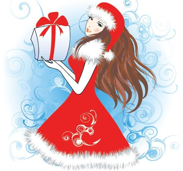 Wear Christmas clothes beautiful girl vectors graphics