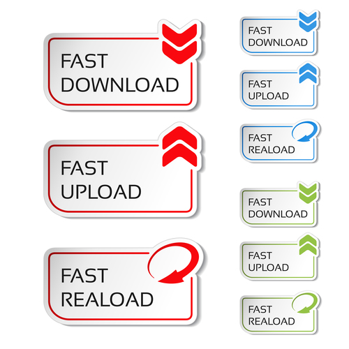 Web download with upload sticker vector material 01