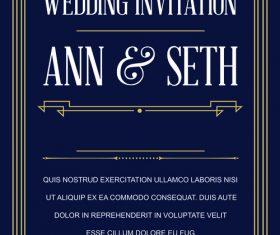 Wedding vintage invitation card template vectors 05