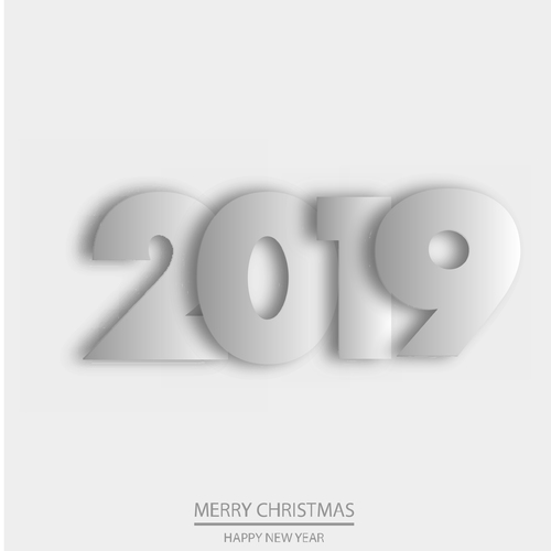 White 2019 new year text with white background vector