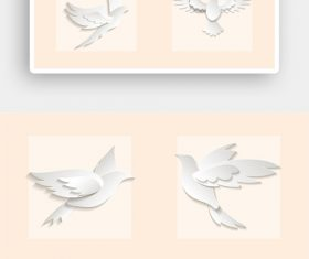 White paper cut peace dove vector