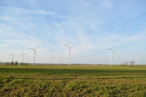 Wind turbines in the fields Stock Photo 02