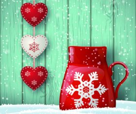 Winter christmas greeting card with wooden wall background vector