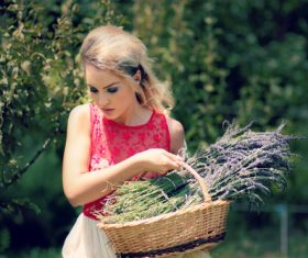 Woman holding lavender Stock Photo