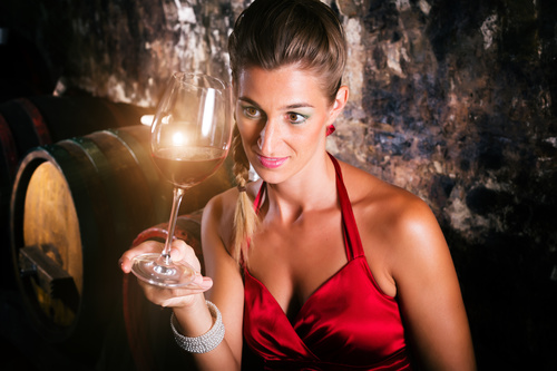 Woman tasting wine Stock Photo 02