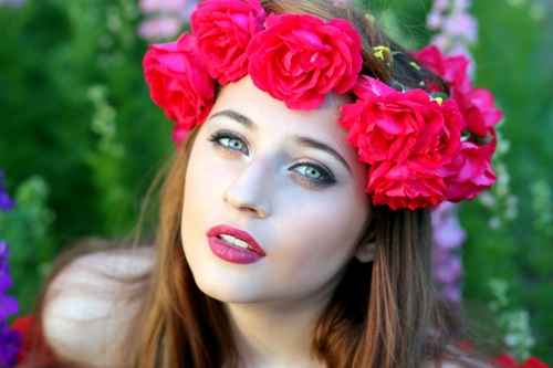Woman with a wreath of roses on the head Stock Photo 09 ...