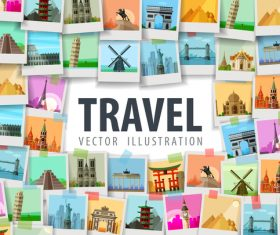 World travel photo background design vector 02