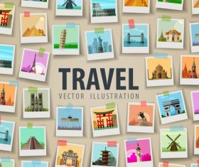 World travel photo background design vector 03