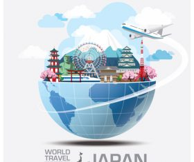 World travel with global travel creative vector design 01