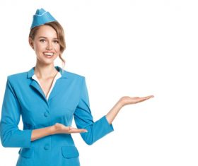 Young beautiful airplane stewardess Stock Photo 05