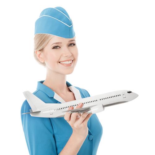 Young beautiful airplane stewardess Stock Photo 07