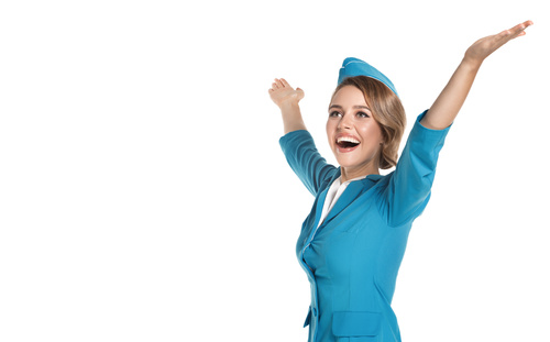 Young beautiful airplane stewardess Stock Photo 08