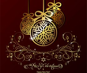 brown background with golden christmas decorative vector