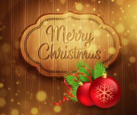 brown wood background with christmas decor vector