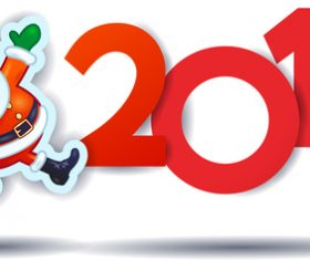 christmas santa and 2019 on white background vector