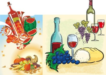 free Wine and fruit vectors