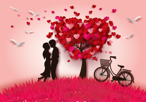 heart tree with loves and bicycle vector