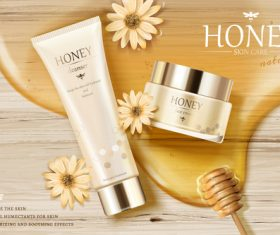honey skin care cosmetics advertisement template vector 02