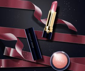 lipstick advertisement template vector 01