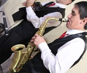 person who plays the saxophone Stock Photo 02