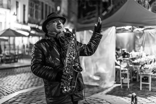 person who plays the saxophone Stock Photo 03