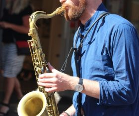 person who plays the saxophone Stock Photo 04