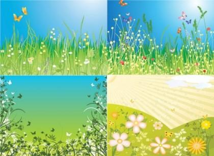 spring fields vectors